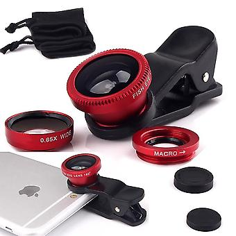 (Red) Mobile Phone Universal Camera Lens 3 in 1 Kit Wide Angle Lens + Fisheye Lens + Macro Lens with Clip-on 180 Degree For Archos Sense 50x