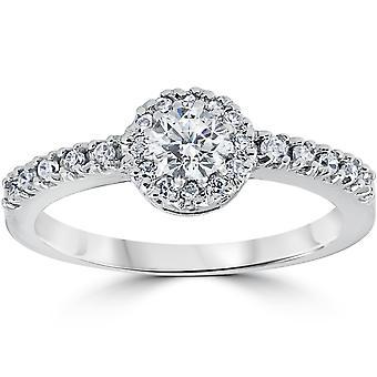 3/4ct Diamant Engagement Halo Weißgold Verlobungsring 14k