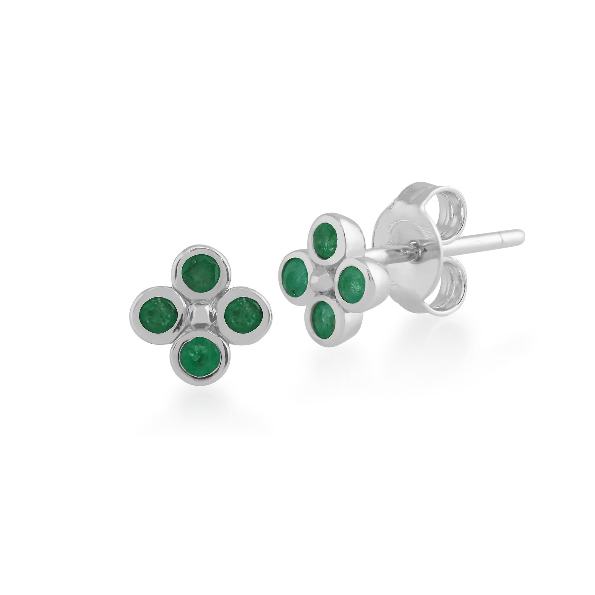 Gemondo Sterling Silver Emerald Cluster Stud Earrings & Ring Set