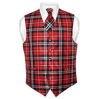 Men's Plaid Design Dress Vest & NeckTie Neck Tie Set