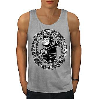 Welcome Monkey Ape Men GreyTank Top | Wellcoda
