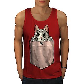 Pocket Cute Kitty Cat Men RedTank Top | Wellcoda