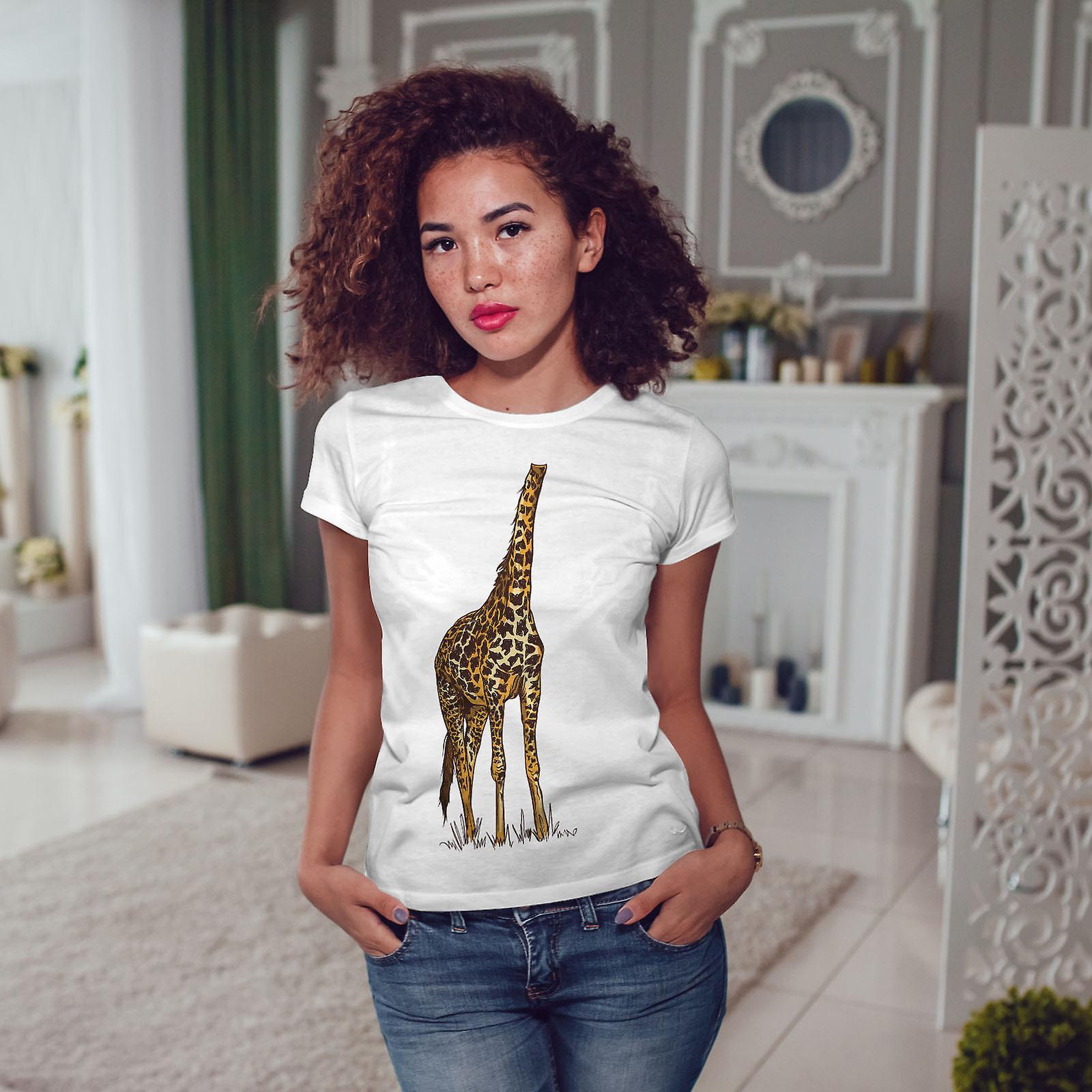 Drôle de girafe hauteur femmes humaines WhiteT-shirt | Wellcoda