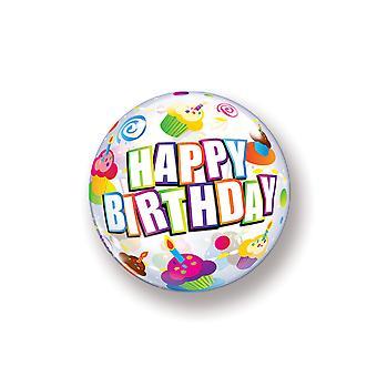 Balão bolha bola feliz aniversário cupcake aniversário sobre balão de 55 cm