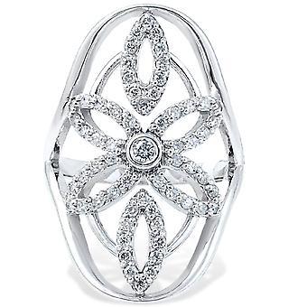 5 / 8ct Винтаж Diamond правой рукой кулака кольцо 14K Белое золото