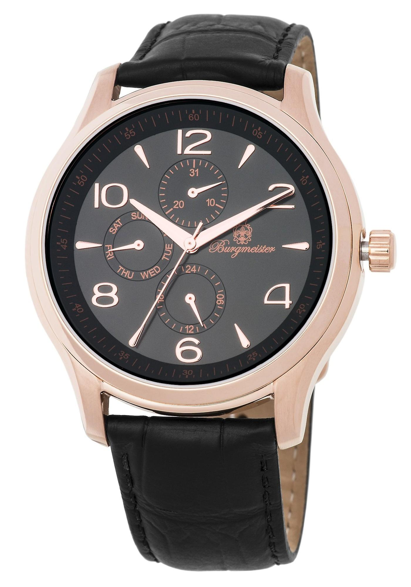 Burgmeister BMT04-322 Montpellier, Gents watch, Analogue display, Quartz with Seiko Movement - Water resistant, Stylish leather strap, Classic men's watch