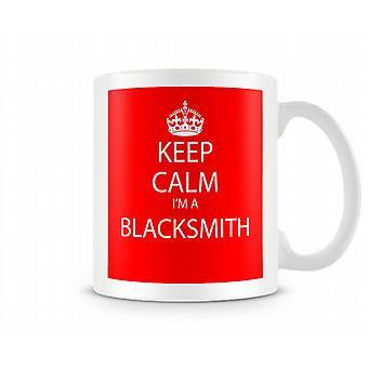 Hålla lugn Im ett svart Smith Pritned mugg tryckta mugg