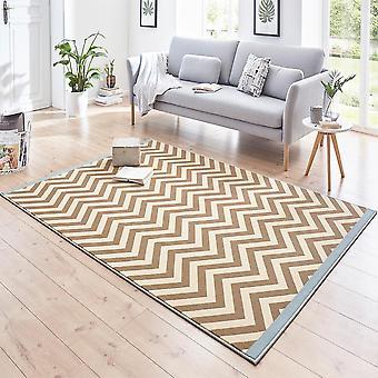 Designer velour mattan Meridian blå brun kräm