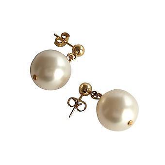 Gemshine Damen Ohrringe Perlen Champagner Tropfen Vergoldet 11 mm