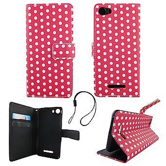 Mobile phone case pochette pour mobile WIKO Lenny 2 polka dot rose blanc