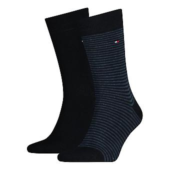 Tommy Hilfiger a rayas calcetines 2-Pack - Marina de guerra oscuro