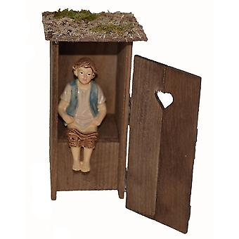 Shepherd in the Loo Häusel outhouse for Nativity stable Nativity accessories