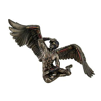 Fearing Flight Nearly Nude Male Steampunk Angel In Pilot Cap & Goggles Statue