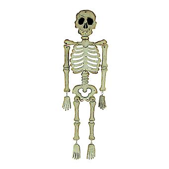 White Wooden Spooky Skeleton Hanging Halloween Decoration