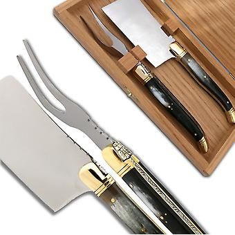 Laguiole Cheese knife set Black Horn Handle Direct from France