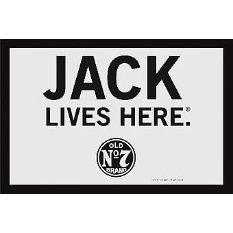 Jack Daniel's Spiegel Jack Lives Here Classic Wandspiegel mit schwarzer Kunststoffrahmung in Holzoptik.
