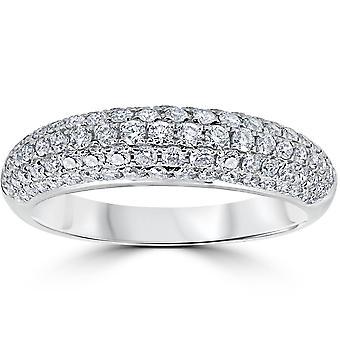 1ct Micropavé Diamant Hochzeit Jahrestag Womens Damen Ring 18K Weißgold