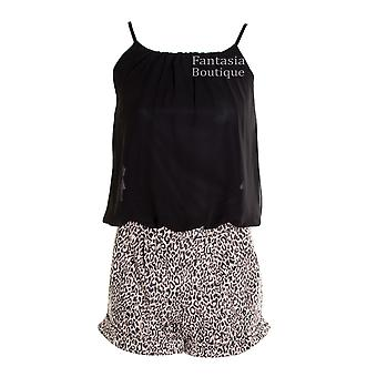 Ladies Zig Zag Leopard Sleeveless Chiffon Tie Back Women's Playsuit