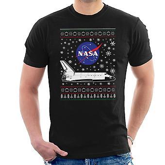 NASA-Logo und Shuttle Weihnachten Strickmuster Herren T-Shirt