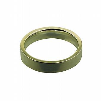 """18 قيراط الذهب 4 مم عادي المحكمة مسطحة على شكل """"ف حجم خاتم الزواج"""""""