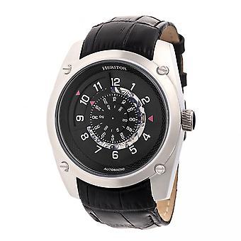 Heritor Daniels automático relógio de couro-banda semi esqueleto - prata/preto