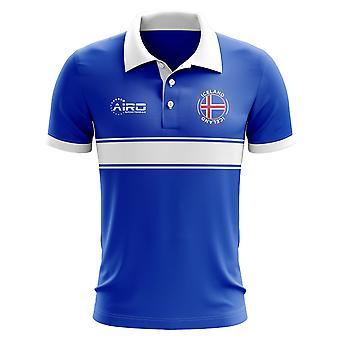 Island-Konzept-Streifen-Polo-Shirt (blau)