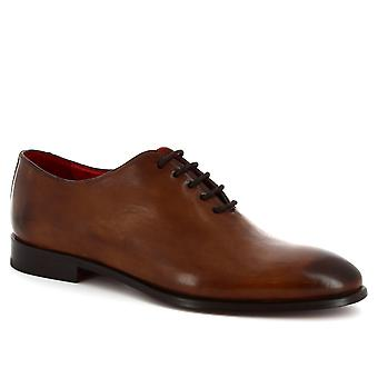Skor för män Leonardo handgjorda spetsar-ups oxford wholecut i brandy kalvskinn