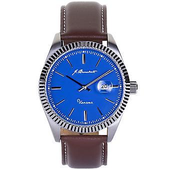 J. Brackett Verona Leather-Band Watch w/Date - Blue