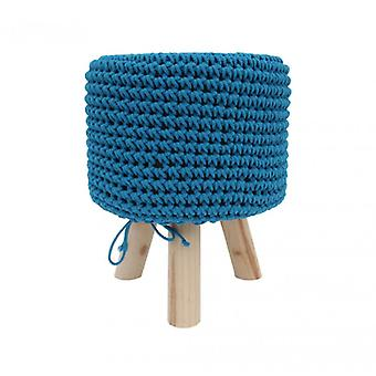 Furniture Rebecca Stool Pouf Tricot Celeste Wood Fabric Modern 45x35x35