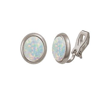 Eternal Collection Minuet White Opal Silver Tone Stud Clip On Earrings (MM)