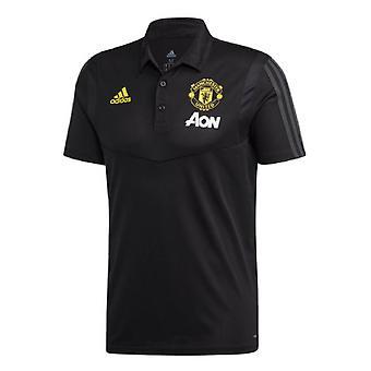 2019-2020 مان يونايتد أديداس تدريب بولو قميص (أسود)