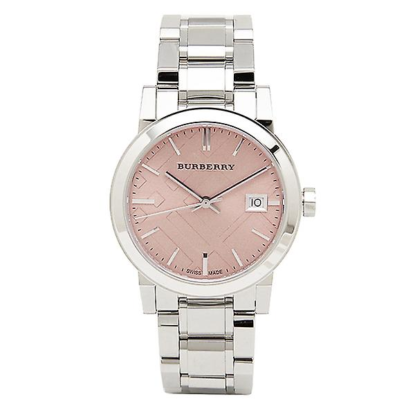 Burberry Bu9124 Pink Check Stamped Stainless Steel Ladies Watch