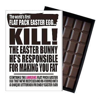 Divertido plano de Pascua huevo chocolate bar tarjeta de felicitación novio novio novia Reino Unido EIYF117