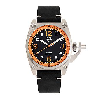 Shield Pascal Leather-Band Men's Diver Watch - Black/Orange
