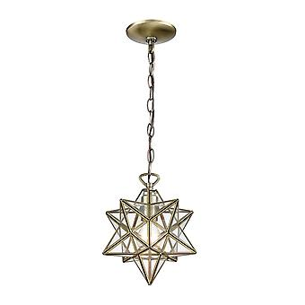Moravian star 1-light mini pendant in antique brass with clear glass - small