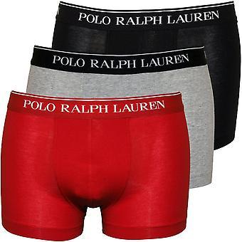 Polo Ralph Lauren 3-Pack Red Branded Waistband Boxer Trunks, Black/Red/Grey