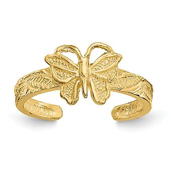 14k Yellow Gold Textured Polished Butterfly Angel Wings Toe Ring Jewelry Gifts for Women - 1.4 Grams