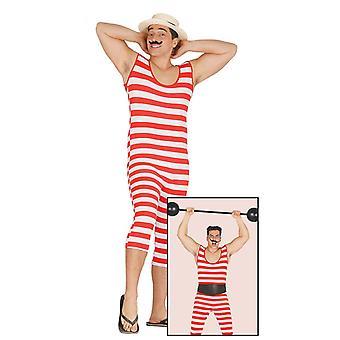 Mens 20 s rouge & blanc rayé baigneur Strongman costumé