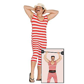 Mens 20s Red & wit gestreept Bader Strongman Fancy Dress kostuum