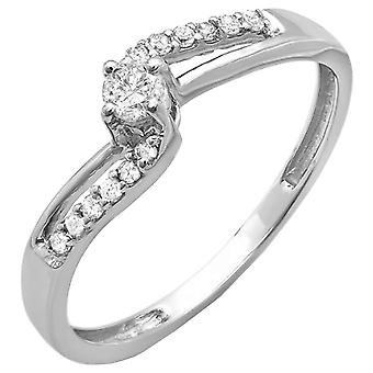 Dazzlingrock Collection 14K Round Diamond Wave Ladies Bridal Promise Engagement Ring, White Gold