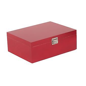 Boîte de rangement en bois rouge de 36 cm