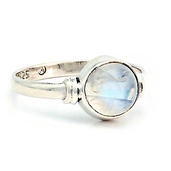 Moonstone Ring 925 Silver Sterling Silver Silver Women's Ring White (IRM 191-04)
