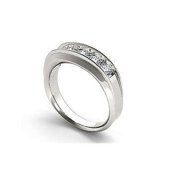 Igi certified 14k white gold 1.00 ct round diamond five stone men's wedding band