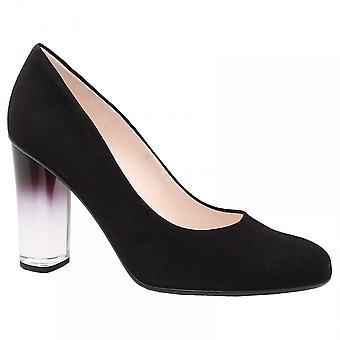 Peter Kaiser Flademara Black Suede Glass Block Heel Court Shoes