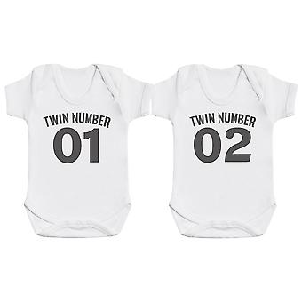 Twin Number 1, Number 2 - Twin Set - Baby Bodysuits