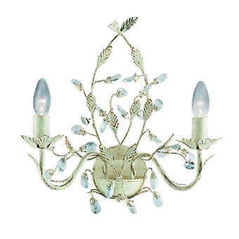 2 leichte Indoor-Kerze Wand Licht Gold, Creme mit Kristallen Floral Blätter Design