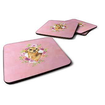 Set of 4 Chihuahua #1 Pink Flowers Foam Coasters Set of 4