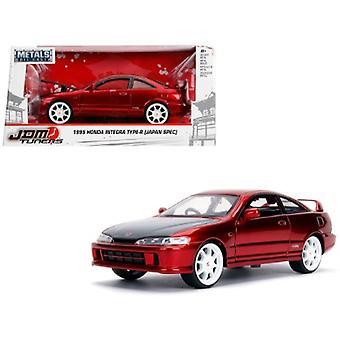 1995 Honda Integra Type-R Japan Spec RHD (Right Hand Drive) Candy Red with Carbon Hood and White Wheels JDM Tuners 1/24 Diecast Model Car par Jada