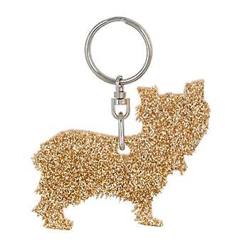 Gold Yorkshire Terrier Style 6 Glitter Acrylic Keyring