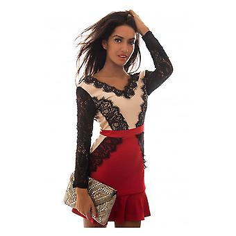 LUXE Red Long Sleeve Backless Lace Ruffle Dress